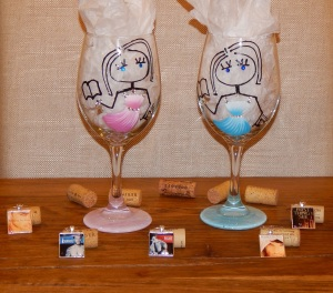 Wine glasses and charms